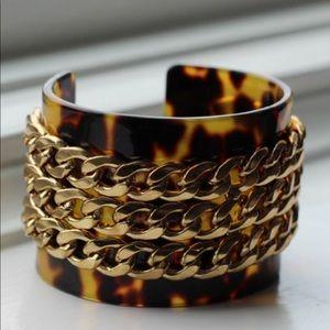 Leopard Print Golden Chain Cuff Bracelet